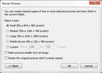Image Resizer for Windows - Advanced Menu