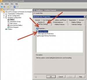 Exchange Mailbox Properties - Forward Email Exchange 2010